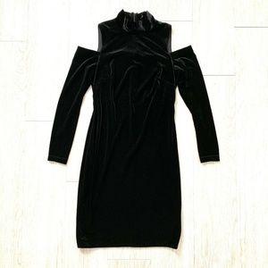 Calvin Klein Black Dress 8 Mock Neck Cold Shoulder